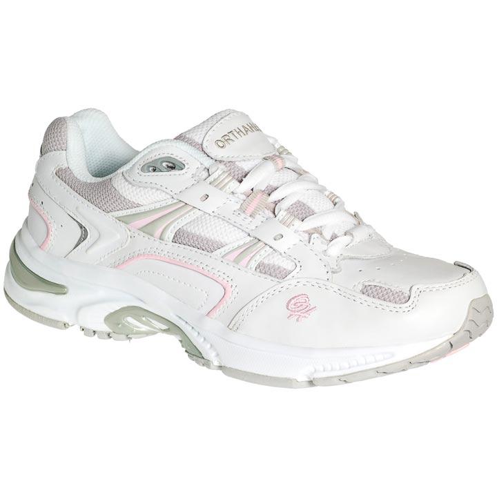 x trainer white pink side orthopedic shoe
